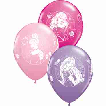 disney princess cameos standard pink, fashion spring lilac and fashion wild berry assortment latex round 11in/27.5cm