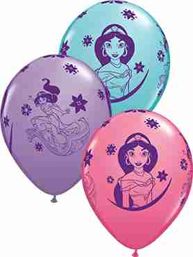 Disney Princess Jasmine Fashion Caribbean Blue, Fashion Rose and Fashion Spring Lilac Assortment Latex Round 11in/27.5cm