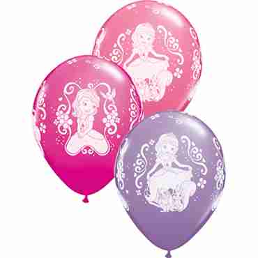 disney sofia the first fashion wild berry, fashsion  spring lilac and standard pink assortment latex round 11in/27.5cm