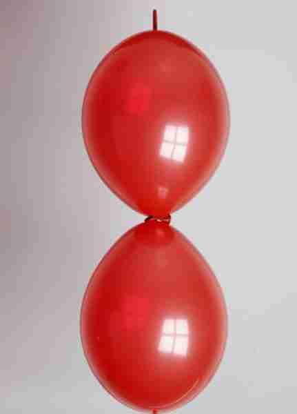 Doorknoopballon 25cm kristal kersenrood