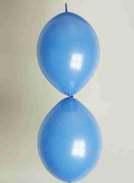 Doorknoopballon 25cm parel blauw