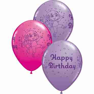 dora the explorer birthday fashion wild berry and spring lilac assortment latex round 11in/27.5cm