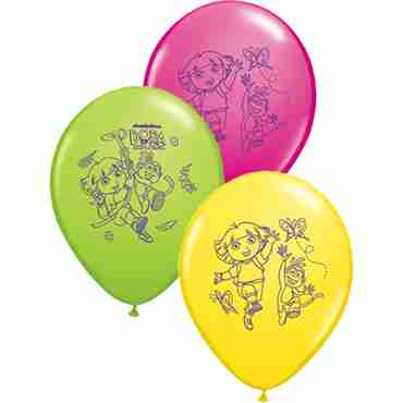 Dora The Explorer Standard Yellow, Fashion Wild Berry and Fashion Lime Green Assortment Latex Round 11in/27.5cm
