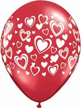 Double Hearts Crystal Ruby Red (Transparent) Latex Round 11in/27.5cm