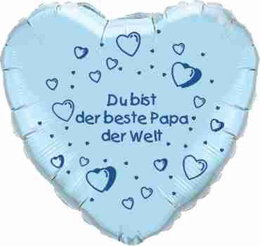du bist der beste papa der welt pearl light blue w/blue ink foil heart 18in/45cm