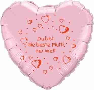 du bist die beste mutti der welt metallic pink w/red ink foil heart 18in/45cm