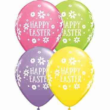 Easter Bunnies and Daisies Spring Assortment Latex Round 11in/27.5cm