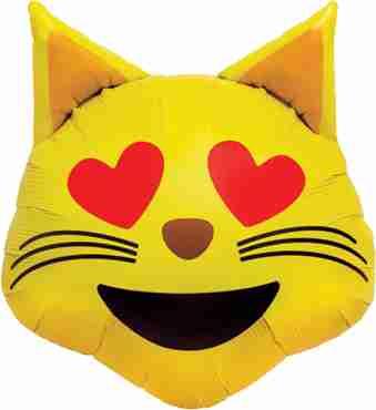 Emoji Cat Heart Eyes Foil Shape 22in/56cm