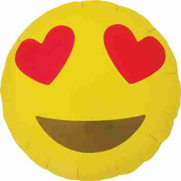 Emoji Heart Eyes Foil Round 18in/45cm