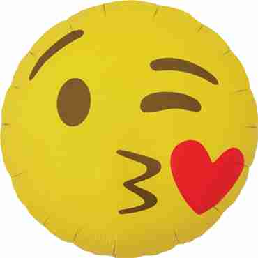 Emoji Kissing Heart Foil Round 18in/45cm