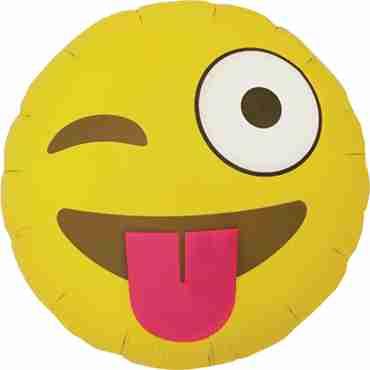 Emoji Winking Foil Round 18in/45cm