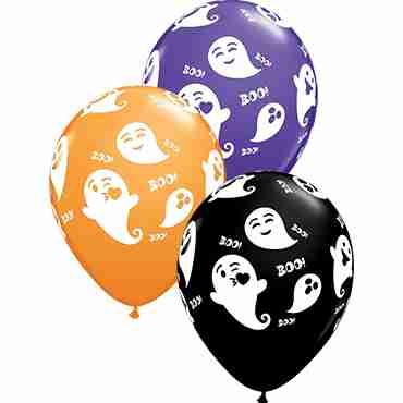 Emoticon Ghosts Standard Orange, Fashion Onyx Black and Fashion Purple Violet Assortment Latex Round 11in/27.5cm