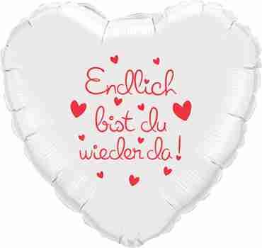 endlich bist du wieder da! metallic white w/red ink foil heart 18in/45cm