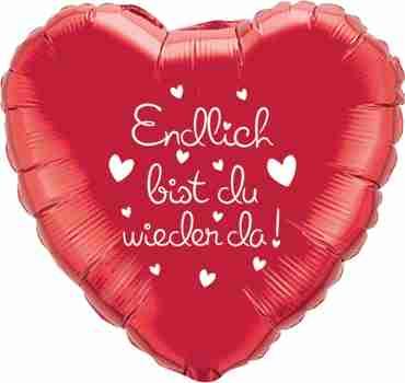endlich bist du wieder da! ruby red w/white ink foil heart 18in/45cm