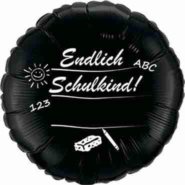 endlich schulkind black w/white ink foil round 18in/45cm