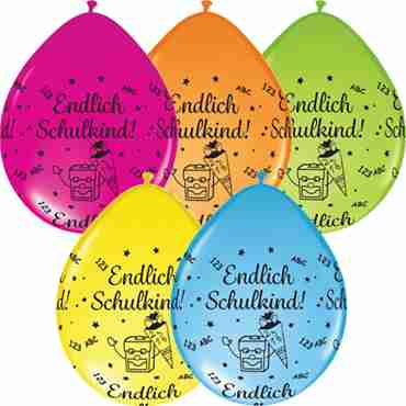 endlich schulkind! fashion lime green, fashion orange, standard pale blue, fashion wild berry and standard yellow assortment (neck up) latex round 5in/12.5cm