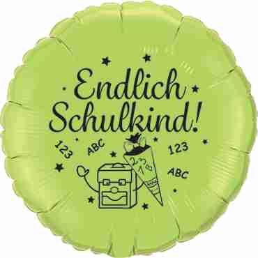 endlich! schulkind metallic lime green w/black ink foil round 18in/45cm