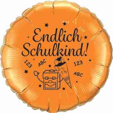 endlich schulkind! metallic orange w/black ink foil round 18in/45cm