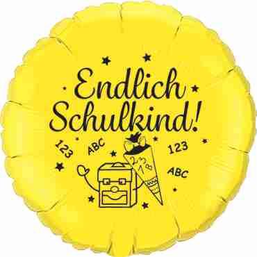 endlich schulkind! metallic yellow w/black ink foil round 18in/45cm