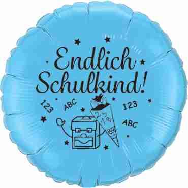 endlich schulkind! pale blue w/black ink foil round 18in/45cm