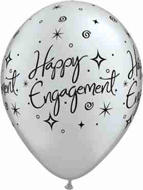Engagement Elegant Sparkles Metallic Silver Latex Round 11in/27.5cm