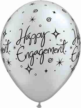 Engagement Elegant Sparkles Metallic Silver Latex Round 11in/27.5cm