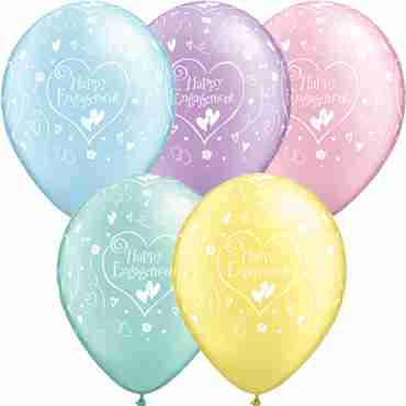 Engagement Hearts Crystal Diamond Clear (Transparent) Latex Round 11in/27.5cm