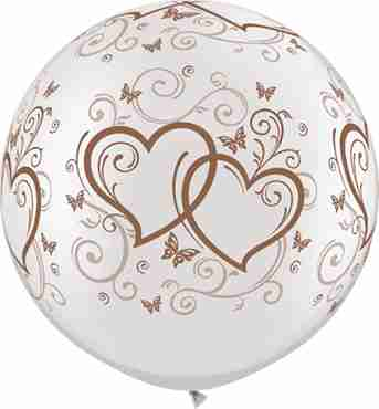 Entwined Hearts and Butterflies Pearl White w/Rose Gold Ink Latex Round 30in/75cm
