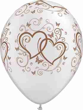 entwined hearts and butterflies pearl white w/rose gold ink latex round 5in/12.5cm