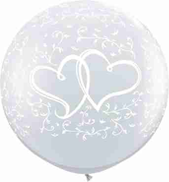 Entwined Hearts Crystal Diamond Clear (Transparent) Latex Round 36in/90cm