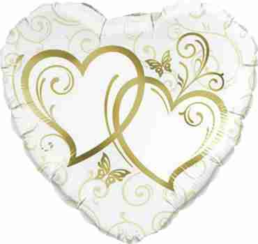 Entwined Hearts Gold Foil Heart 36in/90cm