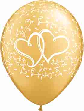 Entwined Hearts Metallic Gold Latex Round 11in/27.5cm