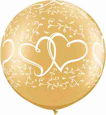 entwined hearts metallic gold latex round 30in/75cm