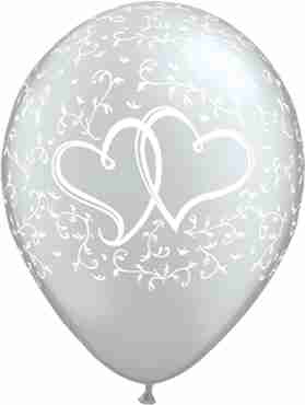 Entwined Hearts Metallic Silver Clear Latex Round 11in/27.5cm