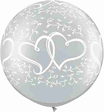 entwined hearts metallic silver latex round 30in/75cm