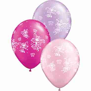 fairies and butterflies pearl magenta, pearl lavender and pearl pink assortment latex round 11in/27.5cm