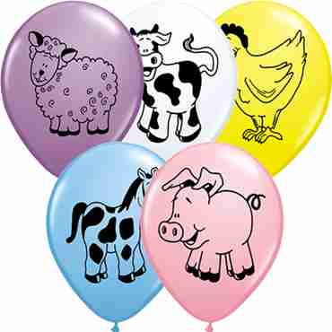 farm animal assortment standard pale blue, standard pink, fashion spring lilac, standard yellow and standard white assortment latex round 11in/27.5cm