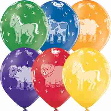 Farm Animals Pastel Leaf Green, Pastel Bright Yellow, Pastel Orange, Pastel Red, Pastel Royal Lilac and Pastel Royal Blue Assortment Latex Round 12in/30cm