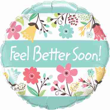 Feel Better Soon! Floral Foil Round 18in/45cm