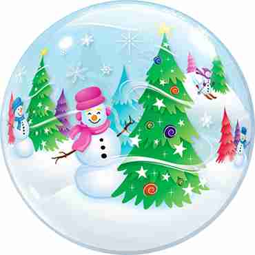 Festive Trees and Snowmen Single Bubble 22in/55cm