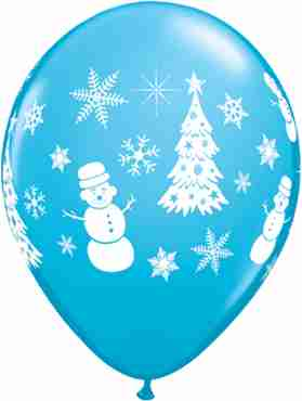 Festive Winter Scene Fashion Robins Egg Blue Latex Round 11in/27.5cm