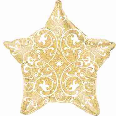 FilIgree Holographic Gold Foil Star 21in/53cm