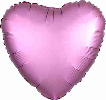 Flamingo Satin Luxe Foil Heart 17in/43cm