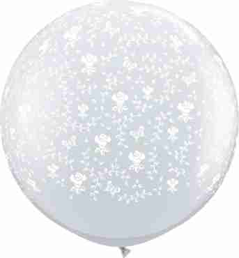 Flowers Crystal Diamond Clear (Transparent) Latex Round 36in/90cm