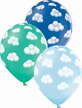 Fluffy Clouds Boy Pastel Sky Blue, Pastel Forest Green and Pastel Royal Blue Assortment Latex Round 12in/30cm