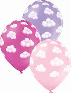 Fluffy Clouds Girl Pastel Pink, Pastel Lavender and Pastel Rose Assortment Latex Round 12in/30cm