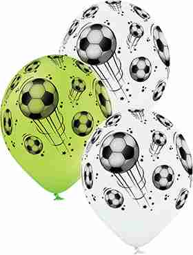 Football Pastel White and Pastel Apple Green Assortment Latex Round 12in/30cm