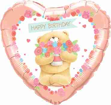forever friends - birthday bear foil heart 18in/45cm