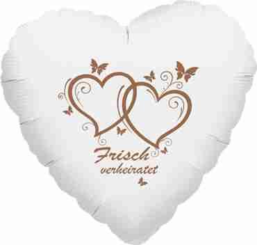 frisch verheiratet metallic white w/rose gold ink foil heart 17in/43cm