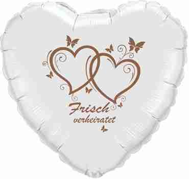 frisch verheiratet metallic white w/rose gold ink foil heart 18in/45cm